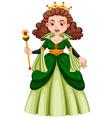 Queen in green gown vector image vector image