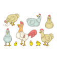 set cocks and hens vector image vector image