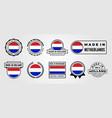 set made in netherlands flag label logo symbol vector image vector image