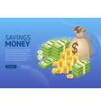 set money icon banner vector image vector image