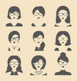 set of different women app icons in glasses vector image vector image
