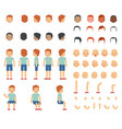set of various man emotion face hairstyles hand vector image