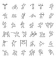 set sport line icons vector image
