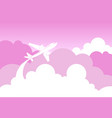 silhouette plane fly over pink clouds and sky love vector image
