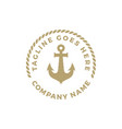 simple anchor silhouette and rope logo design vector image vector image