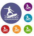 surfer icons set vector image vector image