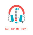 thin line icons for airplane safety concept vector image vector image