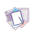 top view of workplace with documents vector image vector image