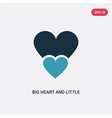 two color big heart and little heart icon from vector image