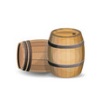 two wooden barrels vector image