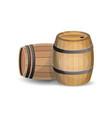 two wooden barrels vector image vector image