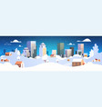 urban winter landscape snowy night street vector image