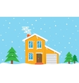 Winter house day Family suburban home vector image vector image
