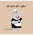 with a cute hippo waiter vector image