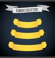 yellow ribbon banners set beautiful blank vector image vector image