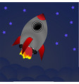 cartoon rocket on space background vector image