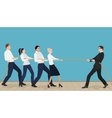Powerful strong businessman competing with group vector image