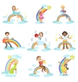 Kids Playing Music Instruments With Rainbow And vector image