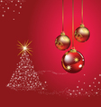 Christmas ball tree red background vector image