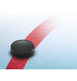 3d realistic hockey background with puck vector image