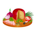 a piece cheese and slices ham in spices vector image
