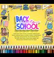back to school design with school equipment vector image vector image
