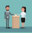 background scene couple male and female people in vector image vector image