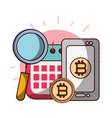 bitcoin smartphone calendar analysis business vector image