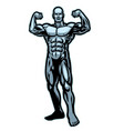 bodybuilder flexing muscle pose vector image vector image