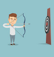 bowman aiming with a bow and arrow at the target vector image vector image
