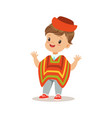 boy wearing national costume of peru colorful vector image vector image