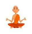 buddhist monk cartoon character sitting in vector image vector image