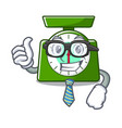 businessman kitchen scale character cartoon vector image