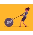 Businesswoman dragging a weight Credit on chain vector image