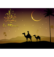Camel walks through the desert in evening vector image vector image