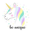 card cute unicorn isolated on white vector image