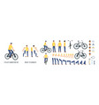 cartoon character with bicycle animation kit vector image vector image