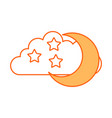 cloud sky with mon and stars vector image vector image