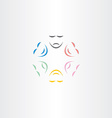 color faces happy and sad mask icon vector image