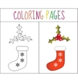 Coloring book page Christmas sock and holly vector image vector image