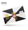 Credit card with Ceuta flag background for bank vector image