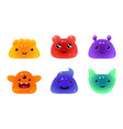 cute funny colorful jelly animals and monsters vector image vector image