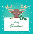 cute stylized reindeer background with sign vector image vector image