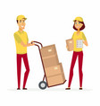 delivery service workers - cartoon people vector image