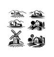 farm emblem on white background italian style vector image vector image