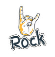 fingers with horns sign hard music sticker vector image