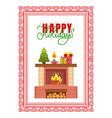 fireplace with burning fire decorated spruce tree vector image vector image