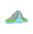 flat icon of small island with waterfall vector image vector image