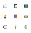 flat icons watch whiteboard espresso machine and vector image vector image
