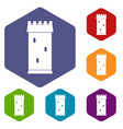 fortress tower icons set hexagon vector image vector image